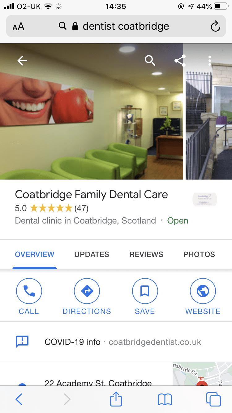 Google My Business Coatbridge Family Dental Care