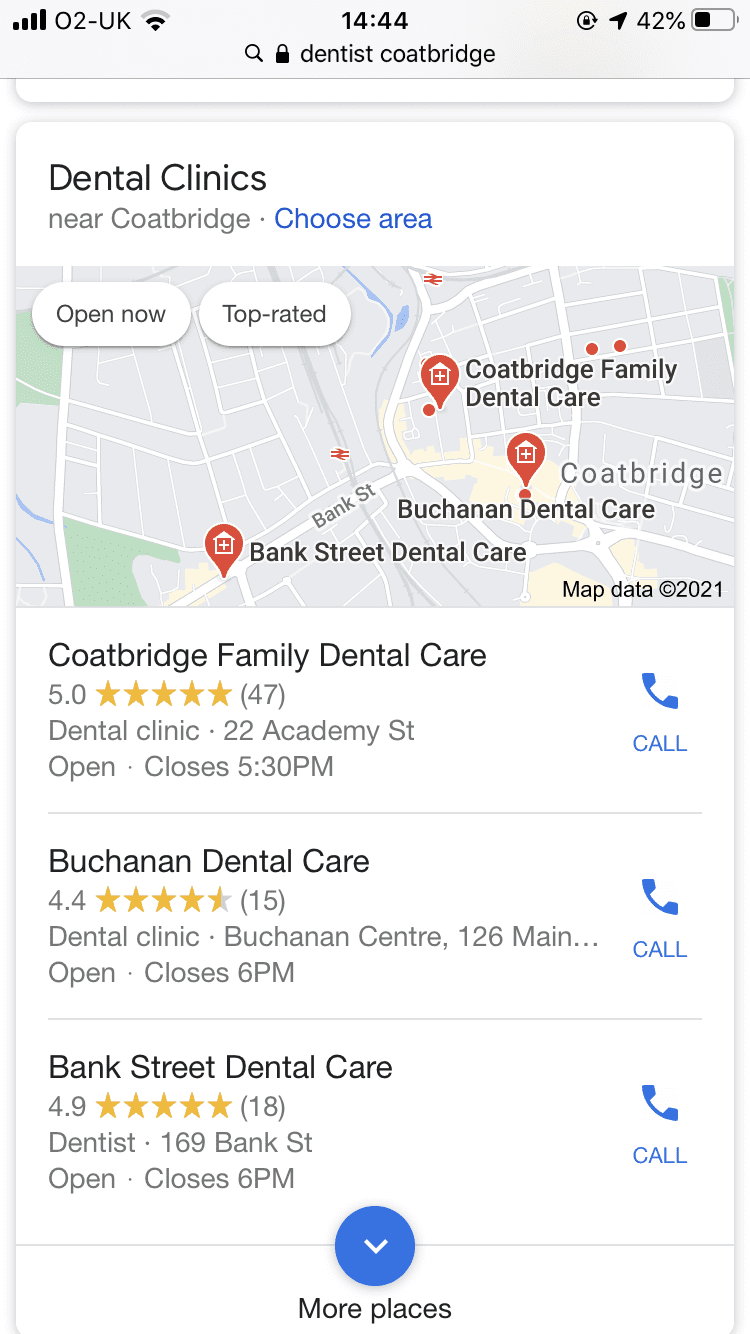Google ranking Coatbridge Family Dental Care