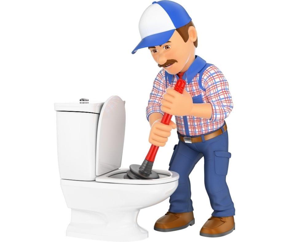 Cartoon Plumber Plunging a Toilet